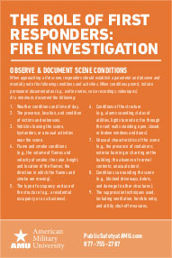 The Role Of First Responders - Fire Investigation card