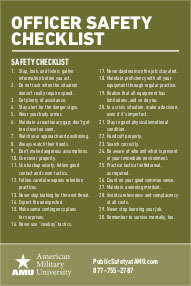 Officer Safety Checklist card