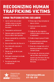 Recognizing Human Trafficking Victims card